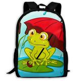 SARA NELL Frog Under Umbrella School Backpacks Waterproof School Bags Durable Travel Camping Backpacks For Boys And Girls