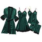 aihihe Women Sexy Pajamas Set Silk Satin Lace Sleepwear Cami Robe Shorts Summer Pjs Sleepwear 4 Piece Lingerie Short Camo Green