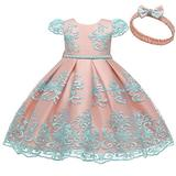 Flower Girl Dresses 5-6Years Special Occasion Formal Prom Ball Gowns CapSleeve Ruffle Tutu Tulle Lace Dress for Wedding Birthday Party blue Flower Holiday Dress for Kids(7932-Blue&Pink 120)