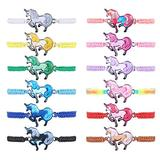 Udalyn 12pc Women Girl Unicorn Woven Friendship Bracelet Set for Party Favor Multicoloured Adjustable Bracelet