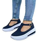 2021 Spring Retro Round Head Loafers for Women, Womens Wedge Platform Casual Summer Sandals with Buckle Strap Ladies Casual Low Upper Open Toe Wedge Heel Shoes ( Color : Blue , Size : 37/UK4-4.5 )