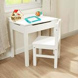 Kids Table Chair Set, Toddler Table and Chair Set Wood Children Folding Table Set with Storage Lift-Top Table for Reading Learning Drawing at Home School, White