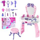 Girls Dress Up Toy Vanities Toddler Fantasy Vanity Beauty Dresser Table Play Set with Lights, Sounds, Chair, Fashion & Makeup Accessories for 2-5 Years Kids … (Pink)
