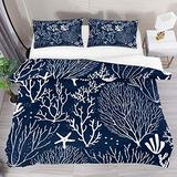 FOLPPLY Coral Reef Starfishs Pattern Duvet Cover Set, California King Bedding Set 3 Pieces, Comforter Sheet Set with Pillow Shams Room Decor for Boys Girls Teens Adults