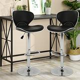 Bar Stools Counter Height Stools Bar Stools Set of 2 Counter Height Swivel PU Leather Bar Stools Bar Stools Counter Height Swivel Bar Stools Adjustable Height Counter Stools w/ Chrome Base,Black