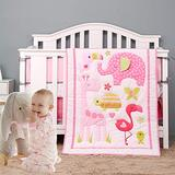 Brandream Pink Elephant Crib Bedding Sets for Baby Girls   3-Piece Jungle Nursery Set, Flamingo, Giraffe, Woodpecker, Tortoise, Butterfly Floral - Animal Zoo Theme - Pink and Gray
