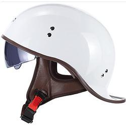 Erwachsene Brain-Cap · Halbschale Motorradhelme Retro Halbhelm Für Roller Moped Mit Sonnenblende Jet-Helm Männer Und Frauen Street Cruiser Jet Style DOT Zertifizierter Helm 2,L=(59~60CM)