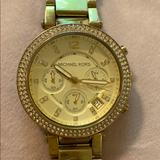 Michael Kors Jewelry | Michael Kors Chronograph Gold Crystal Watch | Color: Gold | Size: Os