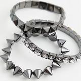 Torrid Jewelry | Nwt Torrid 3pk Hematite Studded Stretch Bracelets | Color: Silver | Size: Os