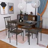 17 Stories 5-piece Dining Table Set Wooden Kitchen Table 1 Table 4 Chairs Metal Legs,modern Rectangular Dining Room Table Sets For Breakfast Nook