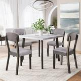 Red Barrel Studio® Iromel Mid-Century 5 Piece Wooden Dining Set w/ 4 Padded Dining Chairs, Kitchen Table Set For Small Spaces, Gray in Brown/Gray