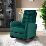 Gemma Violet Rocking Chair Nursery Rocking Armchair Upholstered Tall Back Accent Glider Rocker For Living RoomSolid + Manufactured Wood/Wood/Velvet