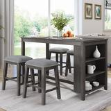 Gracie Oaks 5 Pieces Counter Height Rustic Farmhouse Dining Room Wooden Bar Table Set w/ 4 Stool in Gray, Size 36.0 H x 30.0 W x 60.0 D in | Wayfair