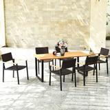 Wade Logan® Gillum 7 Pcs Outdoor Patio Rattan Dining Chair Table Set Wood/Wicker/Rattan in Brown, Size 29.5 H x 69.0 W x 32.0 D in | Wayfair