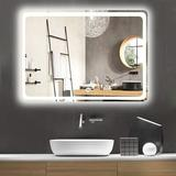 "Ivy Bronx 32"" X 24"" Bathroom Mirror, Backlit Mirror w/ Led Lights Lighted Makeup Vanity Wall-Mounted Horizontally, Rectangular Frameless Wall Mirror"