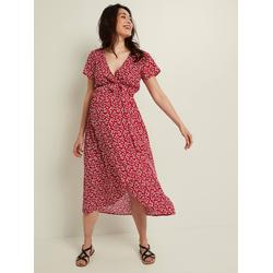 Kleid mit Bindegürtel, Schwangerschaft & Stillzeit rot geblümt Gr. 38 von vertbaudet