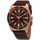 Eco-drive Brown Dial Brown Leather Watch -06x - Brown - Citizen Watches