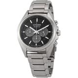 Chronograph Black Dial Titanium Watch -55e - Metallic - Citizen Watches