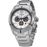 Eco-drive Chronograph White Dial Watch -57a - Metallic - Citizen Watches