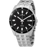 Quartz Black Dial Stainless Steel Watch -54e - Black - Citizen Watches