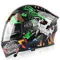 Motorradhelm Klapphelme Modularer Helme mit Bluetooth-Motorradhelm,ECE Zertifiziert Motorradhelm Integralhelm mit Double Lens Rollerhelm Sturzhelm für Damen und Herren K,XL=61~62cm