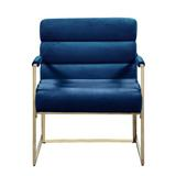 Everly Quinn Italian Light Luxury Accent Chair, Contemporary Velvet Upholstered Armchair w/ Bright-Colored Cushions, For Living Room, Bedroom in Blue