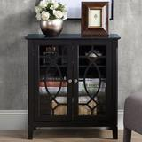 Winston Porter Wood Accent Sideboard Buffet Server Storage Cabinet w/ Double Framed Glass Doors Entryway Kitchen Dining Console Living Room in Black