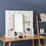 Latitude Run® White Makeup Vanity Mirror w/ Light Stage Large Beauty Mirror DimmerWood/Glass/Plastic in Brown/Green, Size 26.57 W x 31.5 D in