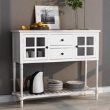 Rosalind Wheeler Sideboard Console Table w/ Bottom Shelf, Farmhouse Wood/glass Buffet Storage Cabinet Living Room Wood in White | Wayfair