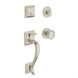 Baldwin Madison Handleset w/ Single Cylinder Deadbolt (Interior deadbolt & handle sold separately) in Brown | Wayfair 85320.112.ENTR