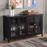 Winston Porter Wood Accent Sideboard Buffet Serving Storage Cabinet w/ 4 Framed Glass Doors Entryway Kitchen Dining Console Living Room, Adjustable