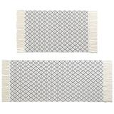 Union Rustic Hand Woven Cotton Kitchen Mat Rug & Runner Set Of 2, Moroccan Bathroom Rug Tribal Bohemian Tassel Rug For Laundry Room Entryway Bedroom