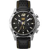 CAT Carbon Multi Black Men Watch, 44 mm case, Stainless Steel case and Black Leather Strap, Black/Yellow dial (CB.149.34.137) (Black/Yellow)