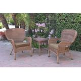 Windsor Honey Wicker Chair And End Table Set With Brown Chair Cushion- Jeco Wholesale W00212_2-CES007
