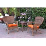Windsor Honey Wicker Chair And End Table Set With Orange Chair Cushion- Jeco Wholesale W00212_2-CES016