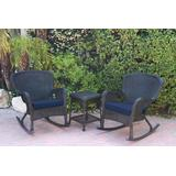 Windsor Black Wicker Rocker Chair And End Table Set With Midnight Blue Chair Cushion- Jeco Wholesale W00214_2-RCES011