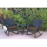 Windsor Black Wicker Rocker Chair And End Table Set With Brown Chair Cushion- Jeco Wholesale W00214_2-RCES007