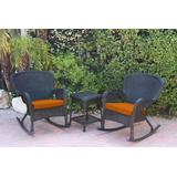Windsor Black Wicker Rocker Chair And End Table Set With Orange Chair Cushion- Jeco Wholesale W00214_2-RCES016