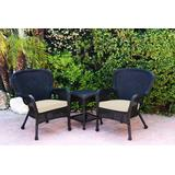 Windsor Black Wicker Chair And End Table Set With Ivory Chair Cushion- Jeco Wholesale W00214_2-CES001