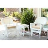 White Wicker Chair And End Table Set With Ivory Chair Cushion- Jeco Wholesale W00206_2-CES001