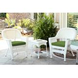 White Wicker Chair And End Table Set With Hunter Green Chair Cushion- Jeco Wholesale W00206_2-CES034