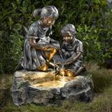 Fratelli Siblings Rock Outdoor/Indoor Fountain With Light- Jeco Wholesale FCL008