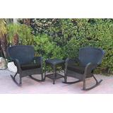Windsor Black Wicker Rocker Chair And End Table Set With Black Chair Cushion- Jeco Wholesale W00214_2-RCES017