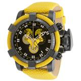 Invicta Sea Hunter Quartz Men's Watch - 52mm Stainless Steel Case, Genuine Stingray Band, Yellow (34386)