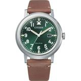 Eco-drive Green Dial Brown Leather Watch -13x - Green - Citizen Watches