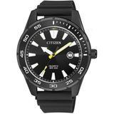 Quartz Black Dial Black Rubber Watch -13e - Black - Citizen Watches