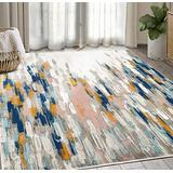 Abani Rugs Orange & Blue Contemporary Abstract Area Rug Contemporary Style, Porto Collection   Turkish Made Superior Comfort & Construction   Stain Shedding Resistant, 4' x 6' Rectangle