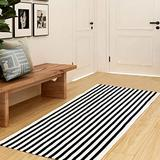 Striped Indoor Outdoor Rug 3x5 - Black and Cream Rug, 3x5 Area Rug, Off White Rug, Farmhouse Rugs, Cotton Woven Rug 3x5 Rugs for Living Room, 3x5 Washable Rug, Entryway Rug Area Rug 3x5