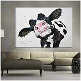 Cute black and white cow picture Country Farmhouse canvas Printing Rustic Bedroom Decor Retro Cow Wall Art Used in Bathroom Office fireplace kitchen Dining Room Decorate Cattle (W:16inch x H:12inch)