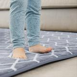 Shoesfree Barefoot Area Rugs 4'x 6' Large Area Rug Shag Rectangle Rug Grey Blue Area Rug Carpets with Memory Foam and Flannel Non Slip for Living Room Bedroom Dining